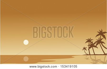 Silhouette of beach on brown backgrounds vector illustration