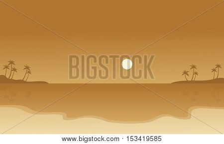 Silhouette of beach landscape collection stock vector