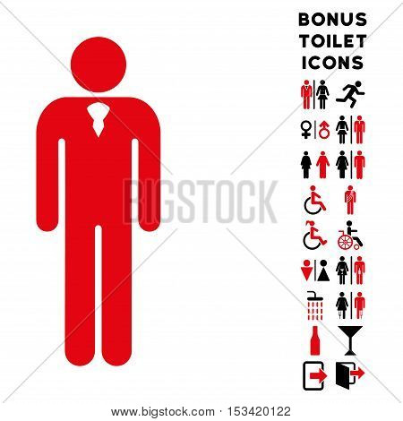 Gentleman icon and bonus gentleman and woman lavatory symbols. Vector illustration style is flat iconic bicolor symbols, intensive red and black colors, white background.