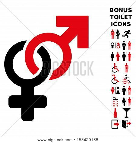Heterosexual Symbol icon and bonus man and lady WC symbols. Vector illustration style is flat iconic bicolor symbols, intensive red and black colors, white background.
