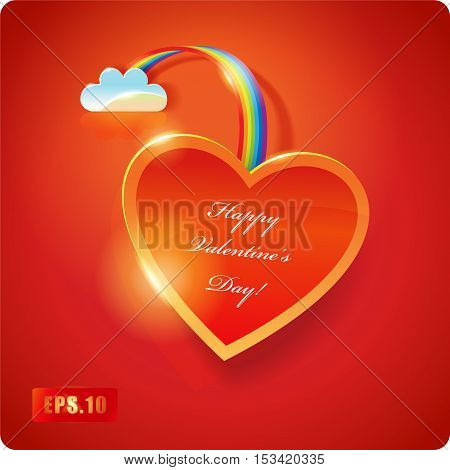 Valentines Day card. Red Heart with cloud and rainbow. Eps10. 3d.