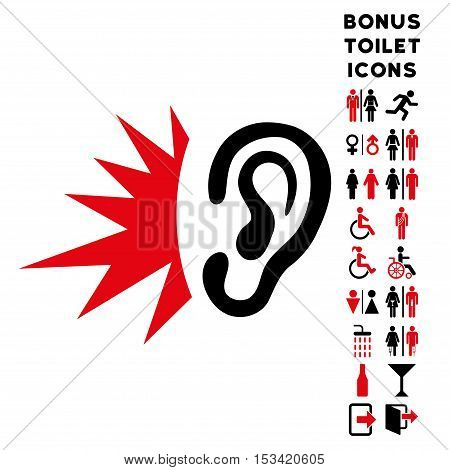 Listen Loud Sound icon and bonus male and lady WC symbols. Vector illustration style is flat iconic bicolor symbols, intensive red and black colors, white background.