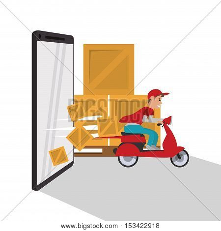 Tablet package and motorcycle icon. Delivery shipping and logistics theme. Colorful design. Vector illustration