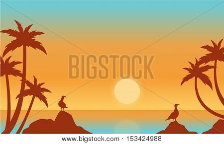 Silhouette of seaside with bird vector flat