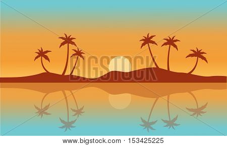 Silhouette of palm with reflection on water vector art