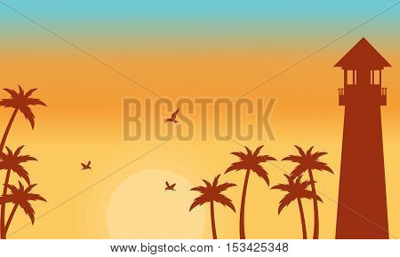 Silhouette of palm and lighthouse vector illustration
