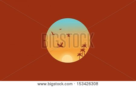 Bird and palm silhouettes landscape vector illustration