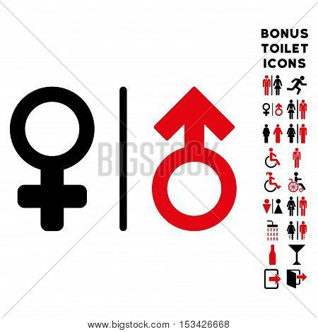 WC Gender Symbols icon and bonus man and woman WC symbols. Vector illustration style is flat iconic bicolor symbols, intensive red and black colors, white background.