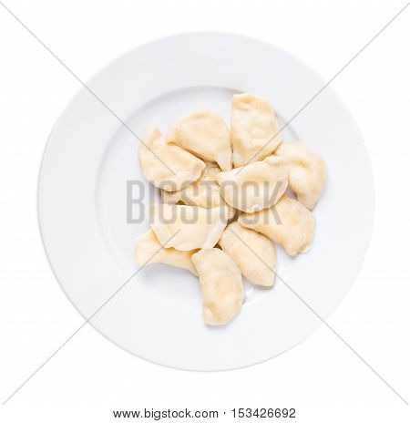 Ukrainian dumplings vareniki with cottage cheese. Isolated on a white background.