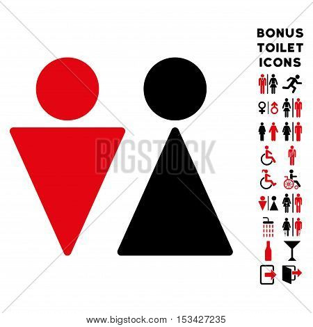 WC Persons icon and bonus gentleman and woman WC symbols. Vector illustration style is flat iconic bicolor symbols, intensive red and black colors, white background.