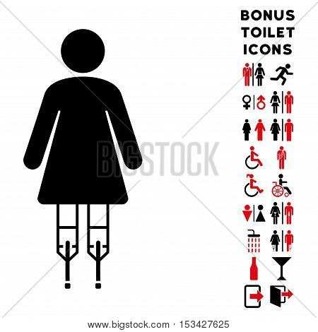 Woman Crutches icon and bonus man and lady toilet symbols. Vector illustration style is flat iconic bicolor symbols, intensive red and black colors, white background.