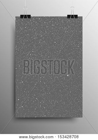 Vertical Poster Banner A4 Sized Vector Hanging With Paper Clips. White Snow Falling Grey Background. Falling Snow. Winter Holiday. Merry Christmas New Year. Ash, Cinder.