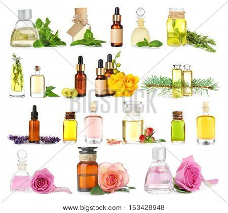 Collage of essential oils on white background