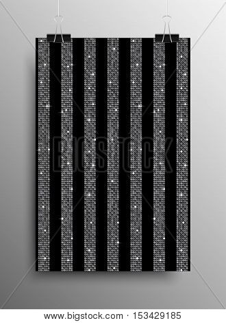 Silver Sequins Lines Black Background. Silver Mosaic Sequins Glitter Sparkle Stars. Abstract Background.
