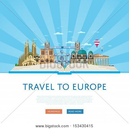 Welcome to Europe travel background. Europe travel landmark and famous travel place. World traveling concept flat vector illustration. Famous Europe buildings. Europen architecture in cartoon style. Europe. World travel background. Travel banners.