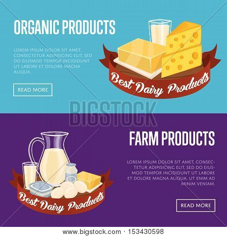 Milk and dairy products horizontal website templates with different dairy composition isolated on blue background vector illustration. Natural healthy food. Organic farmers products. Organic food. Milk icon and cheese icon. Organic concept.