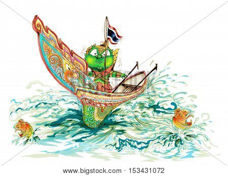 Thai Giant name Siam Gumphant on Kolek (a Malayan canoe often rigged with a rectangular sail) South of Thailand Boat Cartoon