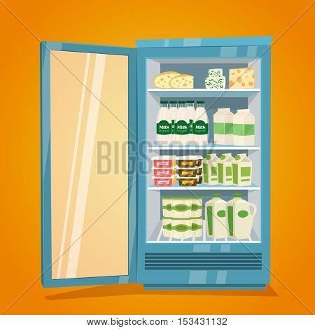 Commercial refrigerator full of dairy products. Opened fridge filled with bottles and packs of milk, yogurt, cheese, sour cream vector illustration. Space organization in fridge. Refrigerator or fridge with food. Cartoon vector fridge with dairy products