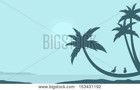 Palm on the beach scenery silhouettes illustration