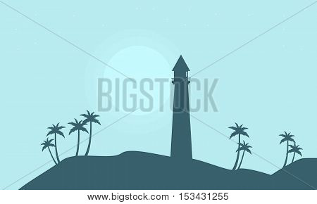 Silhouette of lighthouse on hill scenery vector illustration