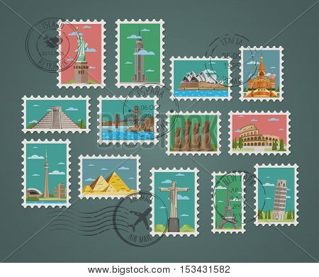 World travel and tourism concept flat vector. Famous world buildings. World travel landmark and famous travel place. Stamp travel collection. Landmarks icon. Oriental landmarks and European landmarks. Vacation travel architecture in cartoon style.