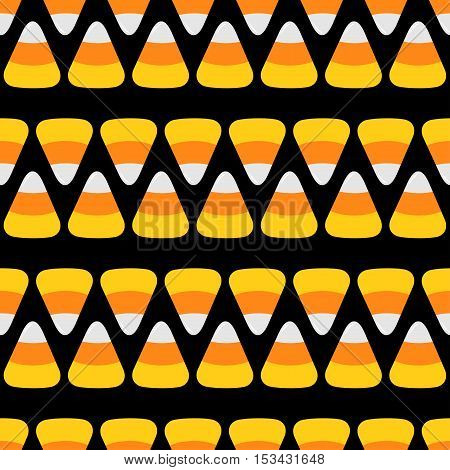 Candy corn line. Happy Halloween Seamless Pattern Black background. Flat design. Vector illustration.