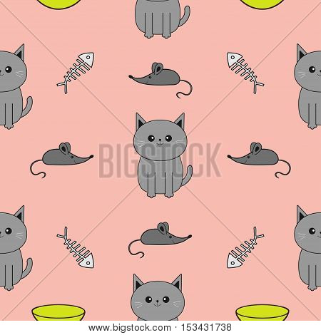 Cute gray cartoon cat. Bowl fish bone mouse toy. Funny smiling character. Contour Isolated. Seamless Pattern Pink background. Flat design. Vector illustration.