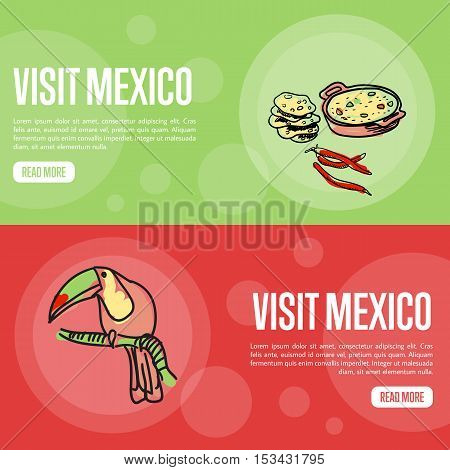 Visit Mexico banners. Lecho, tortilla, chilli, toucan hand drawn vector illustrations on national colors backgrounds. Mexico vector banners template. Travel to Mexico banner concept. Discover Mexico. Flyer of Mexico for travel agency or travel ad.