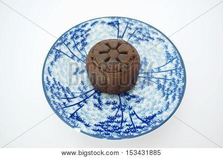 hocolate mooncake on white background. Thai snack