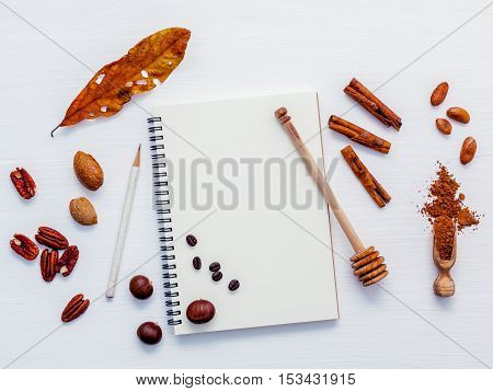 Desserts Background And Menu Design . Various Nuts Pecan, Almonds,coffee Beans ,cocoa Beans ,cocoa P