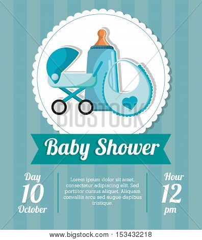 Stroller bottle and bib icon. Baby shower card and childhood theme. Colorful design. Vector illustration