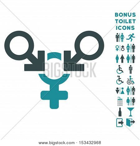 Polyandry icon and bonus man and female toilet symbols. Vector illustration style is flat iconic bicolor symbols, soft blue colors, white background.