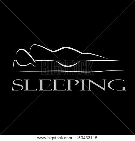 Vector sign ergonomic mattress, abstract shape, isolated black illustration