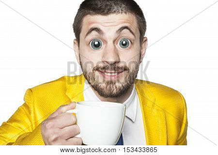 Strong Impact Of Caffeine, Businessman Ready For Action