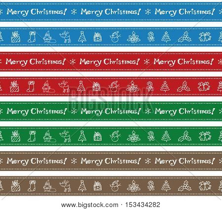 Christmas border design (Santa Clause Christmas tree reindeer snowman bell Christmas stocking candle holly candy cane and gift)