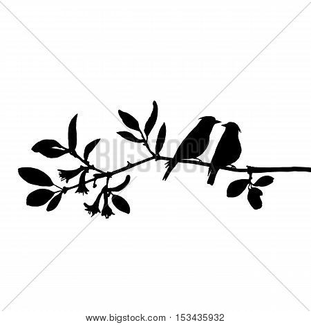 vector silhouettes of birds at tree, hand drawn waxwings at branch, Valentine symbol, a pair of lovers, isolated vector element