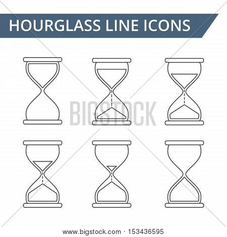 Hourglass line icons set, vector eps10 illustration