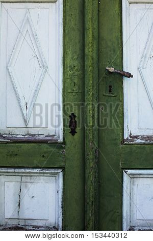 Old Slovenian restored wooden door with paint