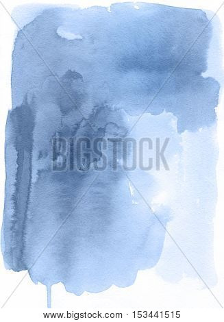 Abstract Watercolor Hand Painted Background. Riverside blue Tint Watercolour Texture Gradient. Pastel Colored Palette.