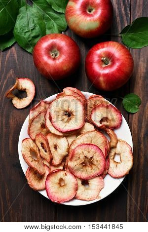 Healthy snack dehydrated apple chips top view