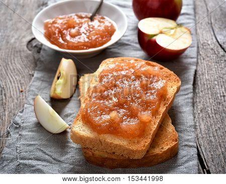 Apple jam on toast bread sweet sandwich
