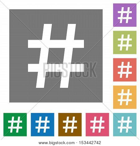 Hash tag flat icons on simple color square background.