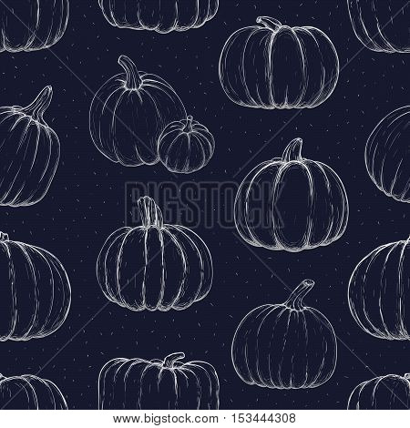 Seamless pattern with chalk pumpkins for thanksgiving day halloween etc. Vector sketchy illustration