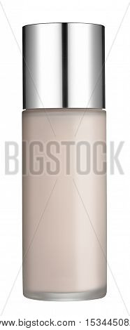 Isolated Beauty Cream Bottle With Silver Lid