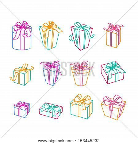 Set Of Vector Outline Gift Icons. Multicolor Gift Boxes With Ribbons, Isolated Illustration.