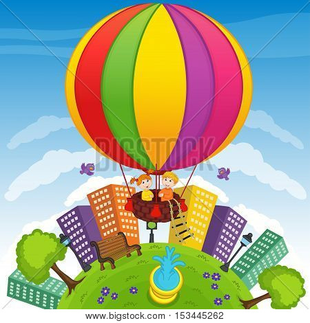 boy and girl on hot air balloon - vector illustration, eps
