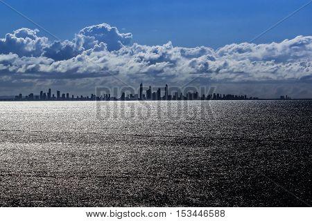 Gold Coast city skyline at sunset time