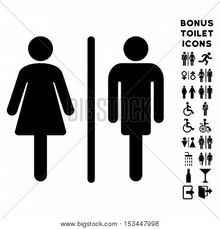 WC Persons icon and bonus male and woman WC symbols. Vector illustration style is flat iconic symbols, black color, white background.