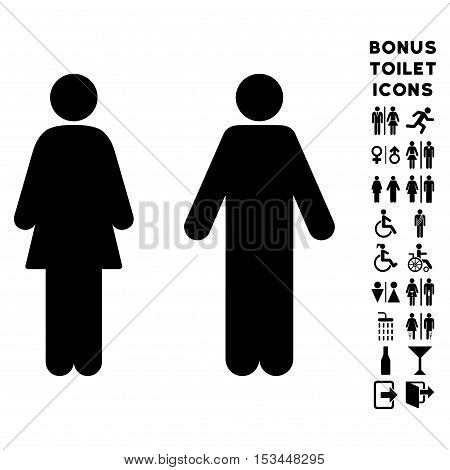 WC Persons icon and bonus male and female WC symbols. Vector illustration style is flat iconic symbols, black color, white background.