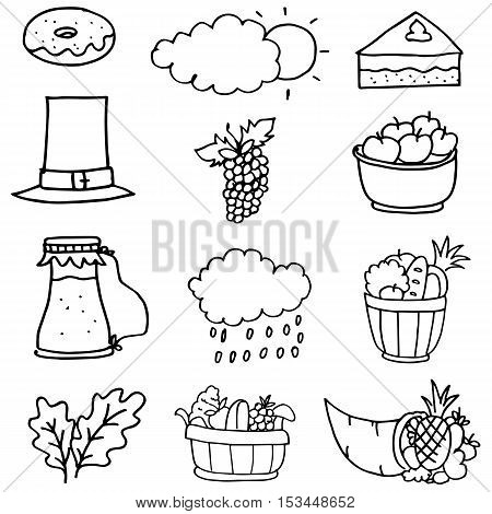 Collection stock thanksgiving set on doodles vector art